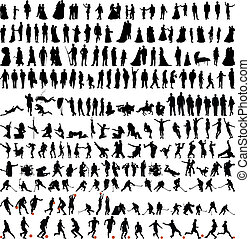silhouettes, bigest, verzameling, mensen