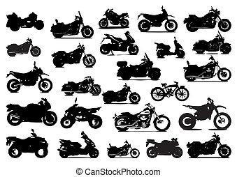 icon silhouettes vector bikes motorcycles