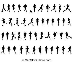 silhouettes, black , rennende