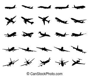 silhouettes, black , vliegtuigen