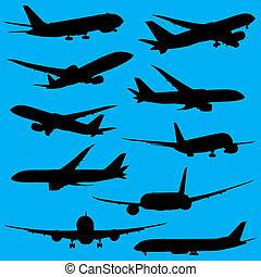 silhouettes, blanc, avions, isolé, fond