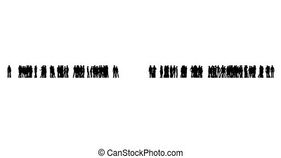 silhouettes, blanc, deux, groupes, gens