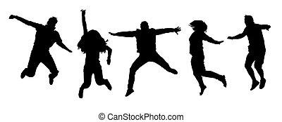 silhouettes, blanc, ensemble, heureux, isolé, arrière-plan., sauter, gens