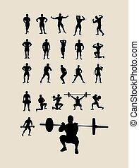 silhouettes, bodybuilding