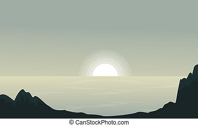 silhouettes, bord mer, coucher soleil, paysage