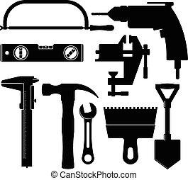 silhouettes, bouwsector, gereedschap