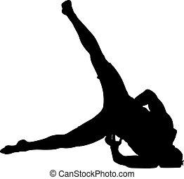 silhouettes, breakdancer, noir, fond blanc