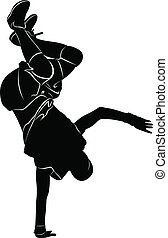 Silhouettes breakdancer on a white background