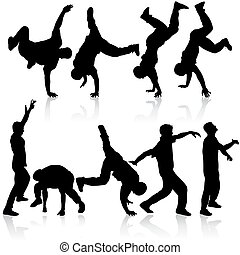 Silhouettes breakdancer on a white background. Vector illustration