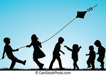 silhouettes, buiten, groep, vlieger, kinderen
