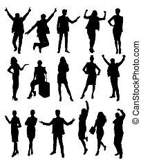 silhouettes, business, activité