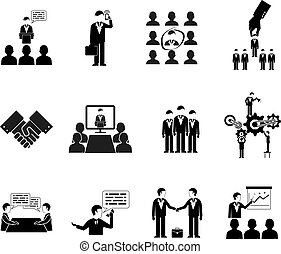 silhouettes, business, peuples