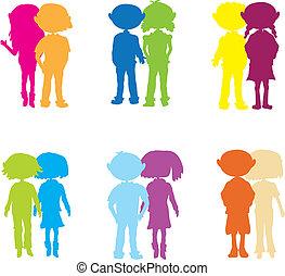 silhouettes cartoon kids couple