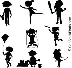silhouettes cartoon kids