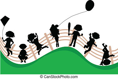 silhouettes cartoon kids party