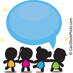 silhouettes cartoon kids with speech bubble