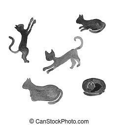 silhouettes, cats., aquarelle, ensemble