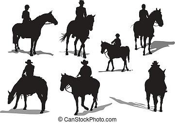 silhouettes., cavallo, vettore, cavalieri, illustrazione