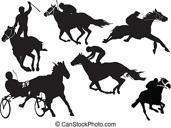 silhouettes., cavalo corre, colorido
