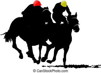 silhouettes., cavalo, vetorial, dois, ilustração