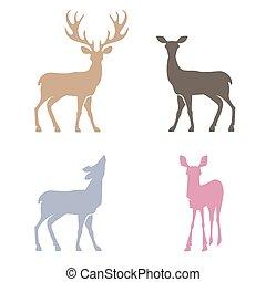 silhouettes, cerf, set.