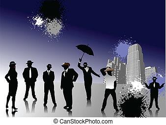 silhouettes, chapeaux, gens