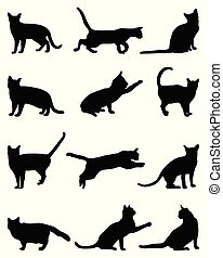 silhouettes, chats, noir