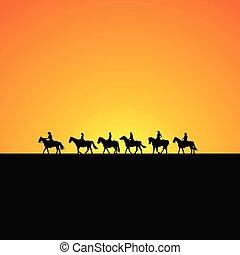 silhouettes, cheval, levers de soleil, cavaliers