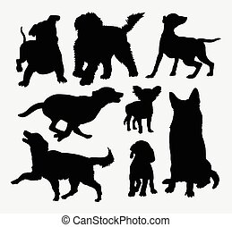 silhouettes, chien, action