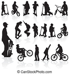 Silhouettes children and man - Extreme silhouettes children...