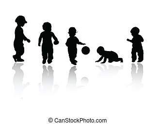 silhouettes - children, babies