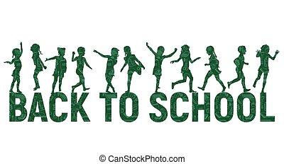 Silhouettes children back to school on school board background