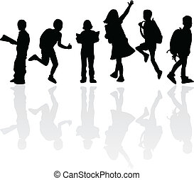 silhouettes children education for studies, learning and...