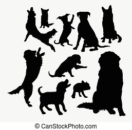 silhouettes, chiot, chien