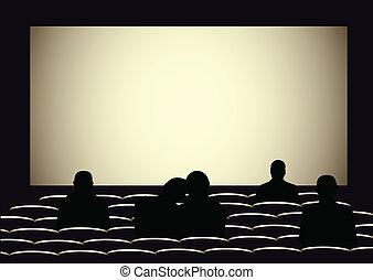silhouettes, cinéma, gens