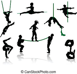 silhouettes, cirkus, performers.