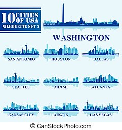 Silhouettes Cities of USA Set 2 on blue background