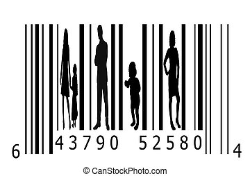 silhouettes, code, barre, gens