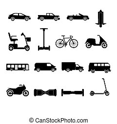 silhouettes, collection, transport, icônes