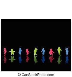 silhouettes, coloeful, enfants