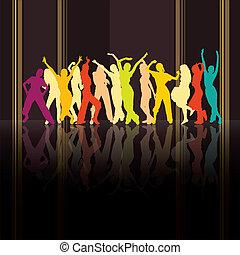 silhouettes, coloré, danse