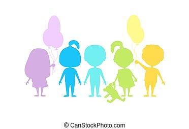 silhouettes., coloré, enfants