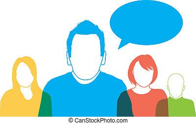 silhouettes, coloré, gens