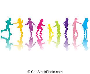 silhouettes, coloré