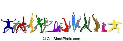 silhouettes, coloré, yoga