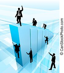 silhouettes, concept, business, reussite, gens