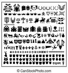 silhouettes, conception, héraldique