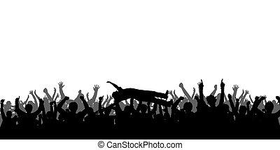 silhouettes, concert, mensen