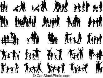 silhouettes., concettuale, illustration., famiglia