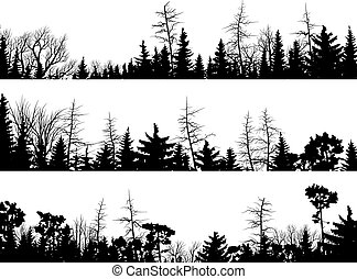 Set of vector horizontal silhouettes coniferous treetops forest (pine, spruce, cedar).